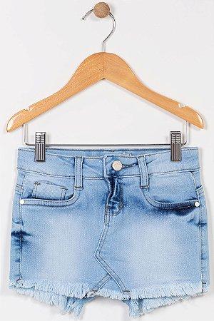 Shorts saia jeans infantil curto com barra desfiada