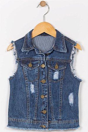 Colete jeans infantil com bordado