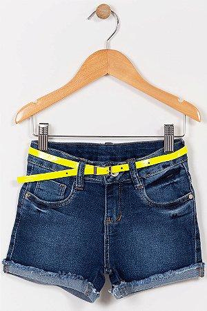 Shorts jeans infantil com cinto