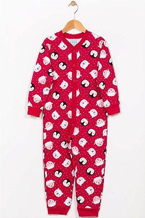 Pijama macacão infantil estampa pinguim kyly