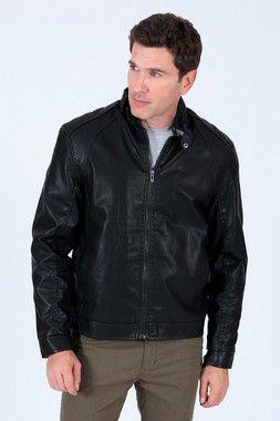 Jaqueta em couro fake com forro peluciado