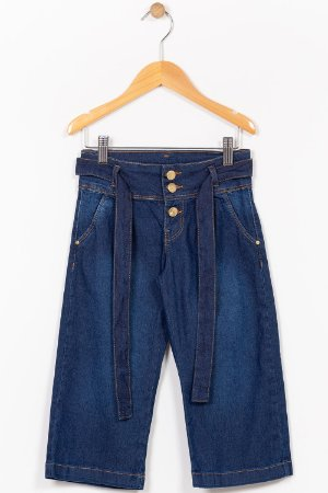 Calça jeans pantacourt infantil com cinto