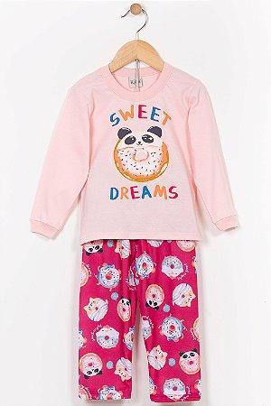 Pijama infantil blusa manga longa e calça kika