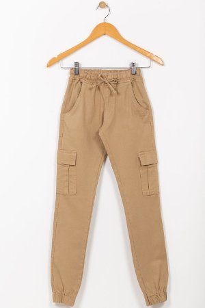 Calça juvenil jogger cós e barra com elástico em sarja