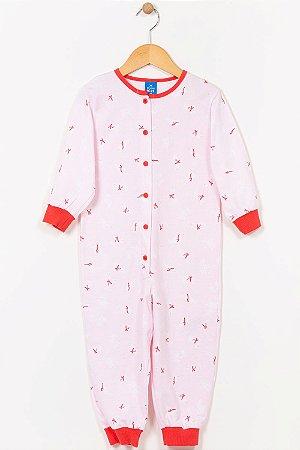 Pijama macacão infantil manga longa hering