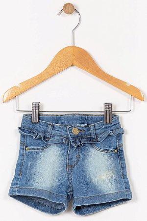 Shorts jeans infantil curto com babado