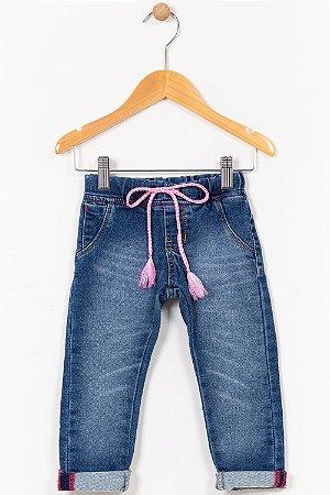 Calça jeans moletom infantil skinny