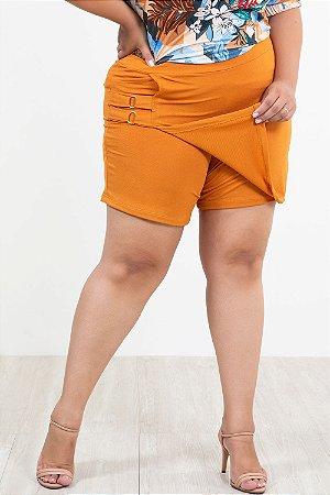 Shorts saia twill com fivela plus size