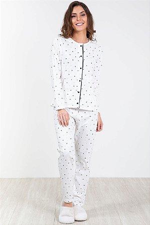 Pijama longo com abertura frontal estampado pzama