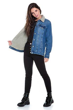 Jaqueta Over Jeans Com Pelo
