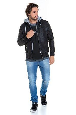 Jaqueta Masculina Leather Com Moletom