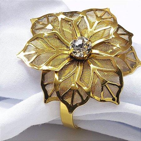 Kit 4 Porta Guardanapo Flor de Ouro