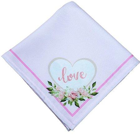 Kit 4 Guardanapos de Tecido Coração Love Rosa 40cmx40cm