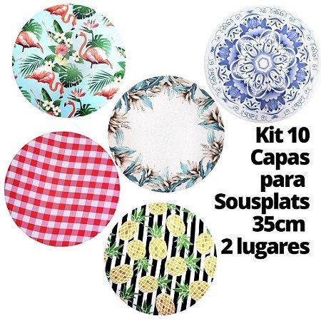 Kit 10 Capas para Sousplat Estampas Sortidas 35cmx35cm - 2 lugares