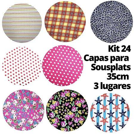 Kit 24 Capas Sousplat Estampas Sortidas para 3 Lugares