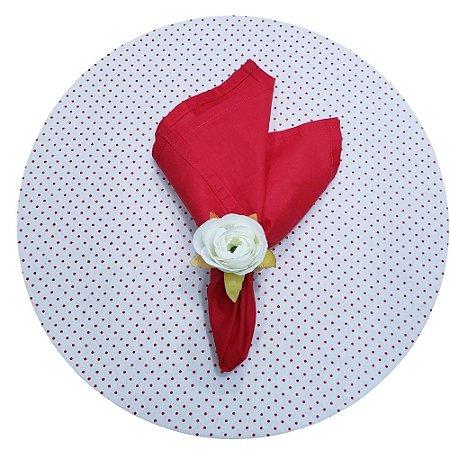 Kit Mesa Posta Capas para Sousplat Bolinha Branco e Vermelho para 2 lugares