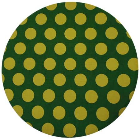 Kit 4 Capas Sousplat Algodão Poá Grande Verde e Dourado 35cmx35cm