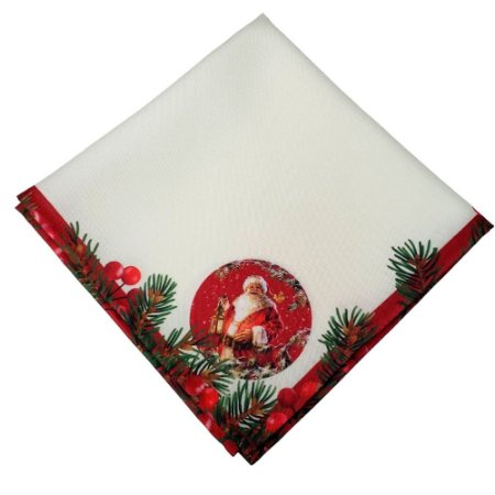 Kit 4 Guardanapos de Tecido Papai Noel Bege Vermelho 40cmx40cm