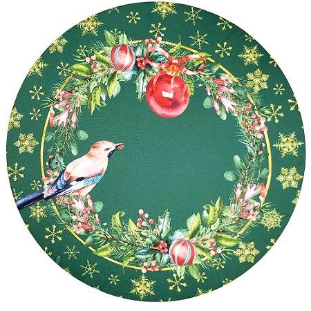 Kit 4 Capas Sousplat Ring Pássaro Natal Verde 35cmx35cm