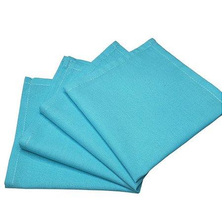 Kit 4 Guardanapos de Tecido Algodão Azul Turquesa 39cmx39cm