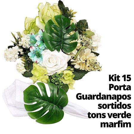 Kit 15 Porta Guardanapos sortidos tons verde marfim
