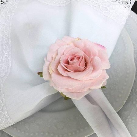 Porta Guardanapo Botão Médio de Rosa (rosa bebê) - 4 unidades