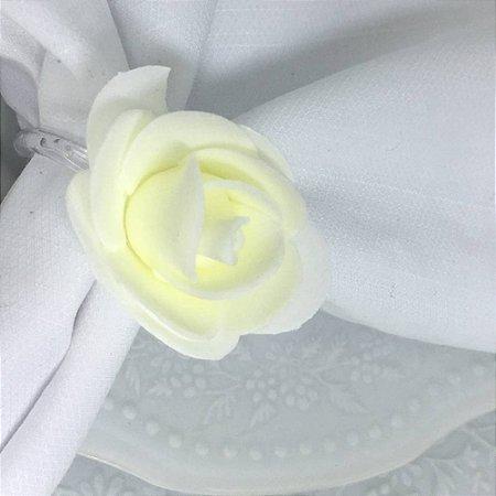 Porta Guardanapo Botão de Rosa EVA (Branco Neve) - 4 unidades