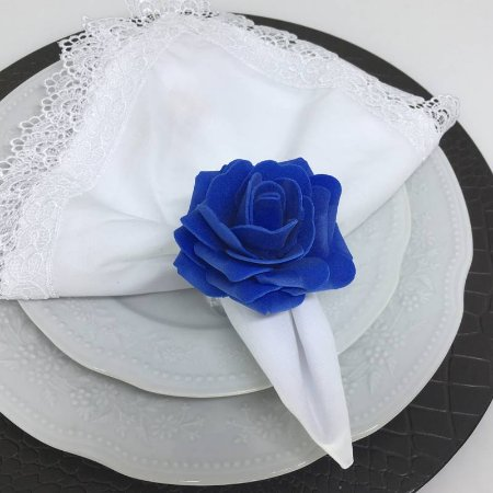 Porta Guardanapo Botão de Rosa EVA (Azul Royal) - 4 unidades