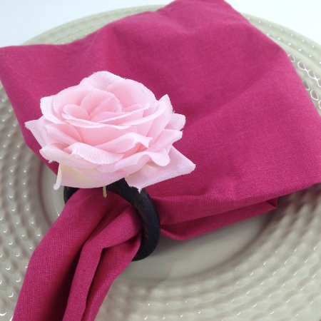Porta Guardanapo Mini Botão de Rosa (rosa) - 4 unidades