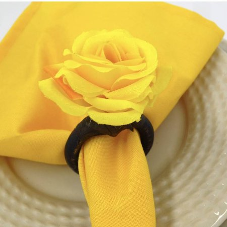 Porta Guardanapo Mini Botão de Rosa (Amarelo) - 4 unidades