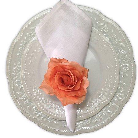 Porta Guardanapo Botão de Rosa Salmão - 4 unidades