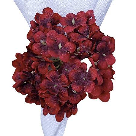 Porta Guardanapo Buquê Mini Hortênsia Vermelha Degradê - 4 unds
