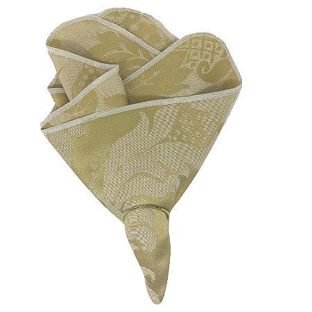 Kit 20 Guardanapo de Tecido Jacquard Dourado Medalhão 40cmx40cm com Anel de Guardanapo