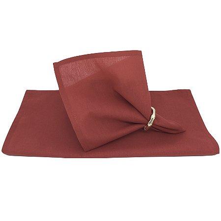 Guardanapo de Tecido Vermelho Fogo Toque de Linho 32cmx32cm - 4 unidades