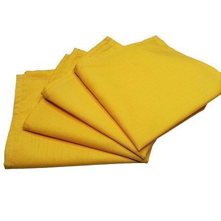 Guardanapo de Tecido Amarelo Ouro 32cmx32cm - 4 unidades