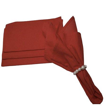 Kit 4 Guardanapos de Tecido Algodão Vermelho 45x45 Yoi com Argolas Pérolas Luxo