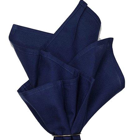 Kit 4 Guardanapos de Tecido Algodão Azul Marinho 45cmx45cm Yoi com Argolas Douradas