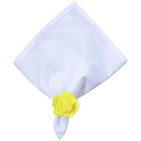 Kit Duo Guardanapo de Tecido com Porta Guardanapo Botão de Rosa (Amarelo Confeti) - 4 unds