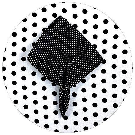 Capa para Sousplat Poá Branco/Preto 35cmx35cm – 4 unids