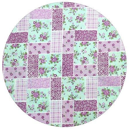Capa para Sousplat Xadrez Flora da Melissa com base em MDF 35cmx35cm - 8 peças