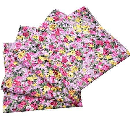 Guardanapo de Tecido Floral Menina Charlô Lilás 32cmx32cm - 4 unidades