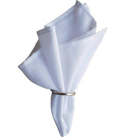 Guardanapo de Tecido Oxford Branco 36cmx36cm com Argola Prata - 4 unds