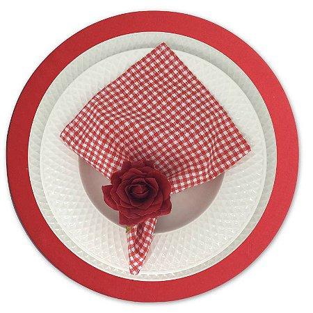 Guardanapo de Tecido Xadrez Vermelho/Branco 32cmx32cm - 4 unidades