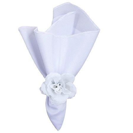 Kit 10 Porta Guardanapos Botão de Rosa Branco Silvestre da Charlô