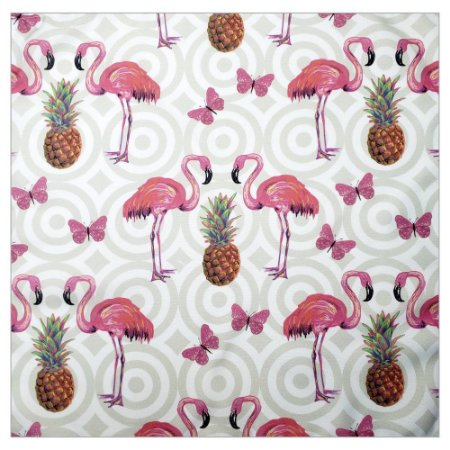 Kit 4 Guardanapo de Tecido Flamingo Abacaxi 40cmx40cm