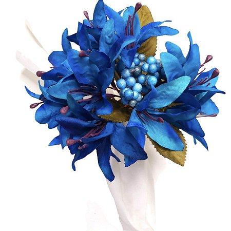 Porta Guardanapo Lírios da Maison Charlô (Azul Royal) - 4 unidades