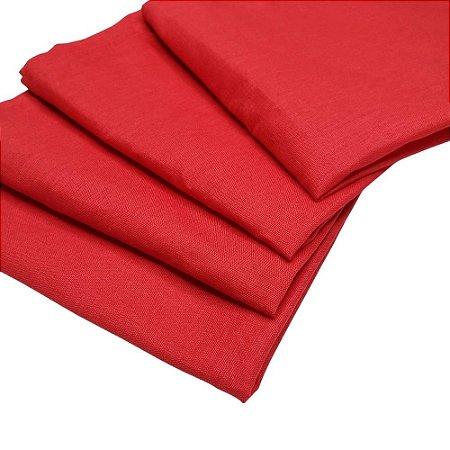 Kit 4 Guardanapos de Tecido Vermelho Algodão 39cmx39cm
