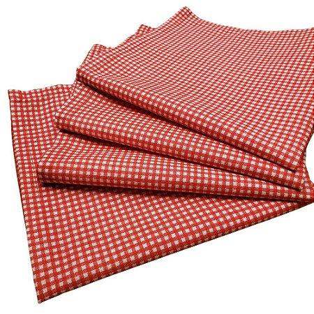 Kit 4 Guardanapos de Tecido Xadrez Branco Vermelho Algodão 39cmx39cm