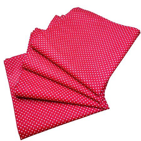 Kit 4 Guardanapos de Tecido Poá Vermelho Branco Algodão 39cmx39cm
