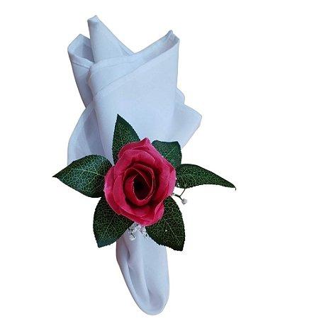 Kit 4 Guardanapos de Tecido Oxford Branco 36cmx36cm com Porta Guardanapos Rosa Pink